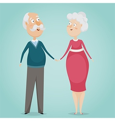 happy grandparents holding hands vector image vector image