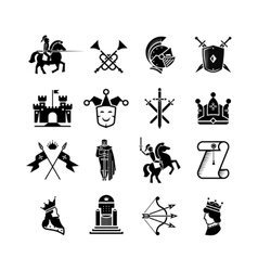 Knight medieval history icons set Middle vector image