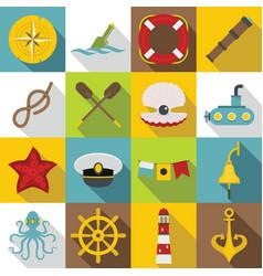 nautical icons set flat style vector image