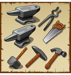 Set of anvils saws hammers and other tools vector image vector image