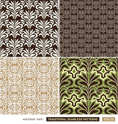 Vintage ornamental backgrounds set - brown green vector image vector image