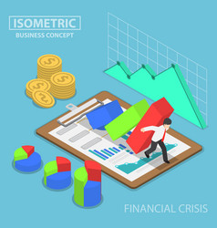 isometric businessman trying to stop falling graph vector image