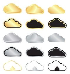 set of blank gold and silver clouds and black with vector image vector image