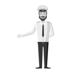 Captain of ship icon gray monochrome style vector image