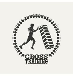 Cross Training man silhouet logo vector image vector image