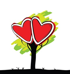 handwriting of kid painted heart tree vector image vector image
