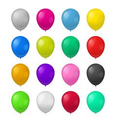 realistic detailed 3d color balloons set vector image
