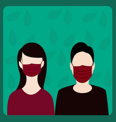 A man and woman wearing a maskto prevent air vector