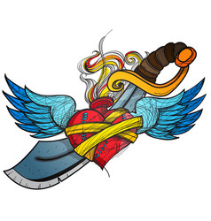 A sketch of a tattoo heart with wings and a sword vector