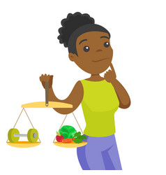 African-american woman weighing food and dumbbell vector