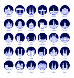 Big collection badges european cities vector