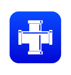 Black pipe fitting icon digital blue vector