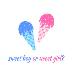 Blue and pink ice creams boy or girl concept vector
