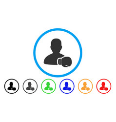 boxing sportsman rounded icon vector image