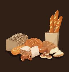 Bread bakery product food organic fresh bread vector