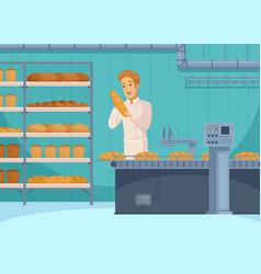 Bread production cartoon composition vector