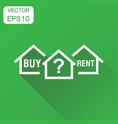 Buy or rent house dilemma icon business concept vector