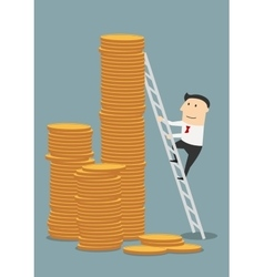 Cartoon businessman climbing to coins stacks vector image
