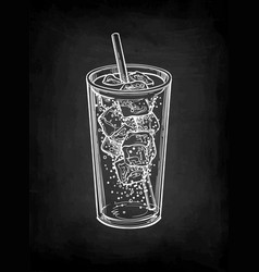 Chalk sketch soda glass vector
