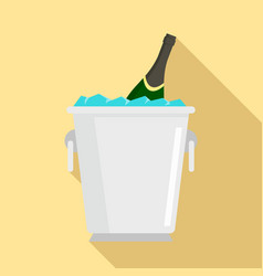 champagne ice bucket icon flat style vector image
