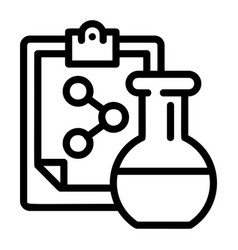 chemical flask formula icon outline style vector image