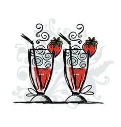 Cocktails with strawberry sketch for your design vector image vector image