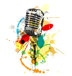 Colored hand sketch old microphone vector