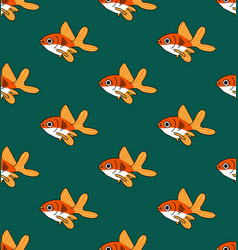colorful goldfish on green teal background vector image