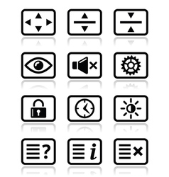 Computer tv monitor screen icons set vector image