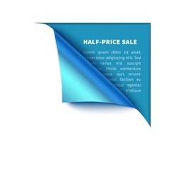 Corner white torn paper with blue background for vector image