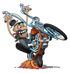 Crazy biker on an old school chopper cartoon vector