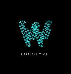 Cyber letter w for digital technology logo concept vector