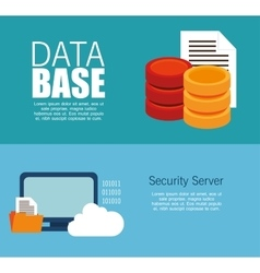 data server security technology cloud document vector image