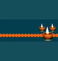 Diwali diya decoration banner with flowers vector