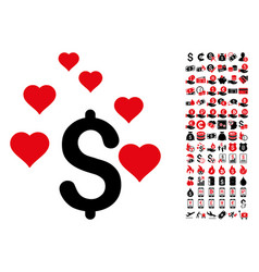 Dollar love hearts icon with 90 bonus pictograms vector