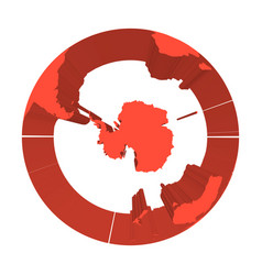Earth globe model with red extruded lands focused vector