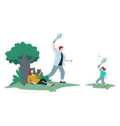 family in park father and son playing badminton vector image