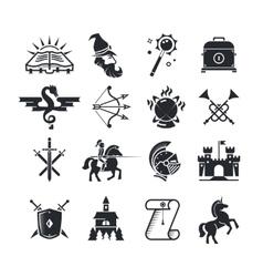 Fantasy tale black icons set vector