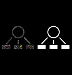 Flare mesh carcass hierarchy icon with flare spots vector