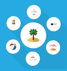 flat icon summer set of coconut parasol aircraft vector image
