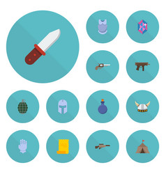 flat icons gun parchment shotgun and other vector image