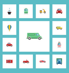 flat icons truck streetcar automobile and other vector image