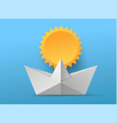 folded paper boat and sun concept vector image