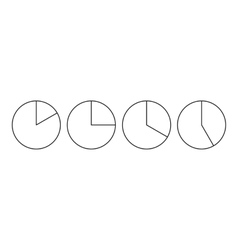 Four circle pie diagrams icon outline style vector image