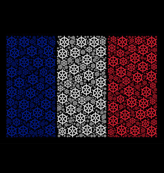 french flag collage of boat steering wheel items vector image