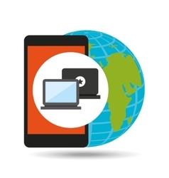 global device digital social network vector image