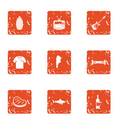 Green party icons set grunge style vector