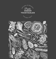 green vegetables design template hand drawn food vector image