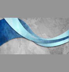 grunge blue waves abstract corporate background vector image