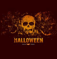 Halloween skull and bat on rough surface orange vector